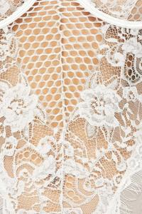 Honey comb Lace Bodysuit- White