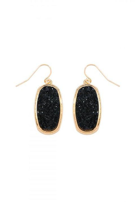 Oval Druzy Earrings (black)