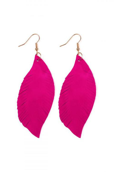 Pink Fringe Suede Earrings