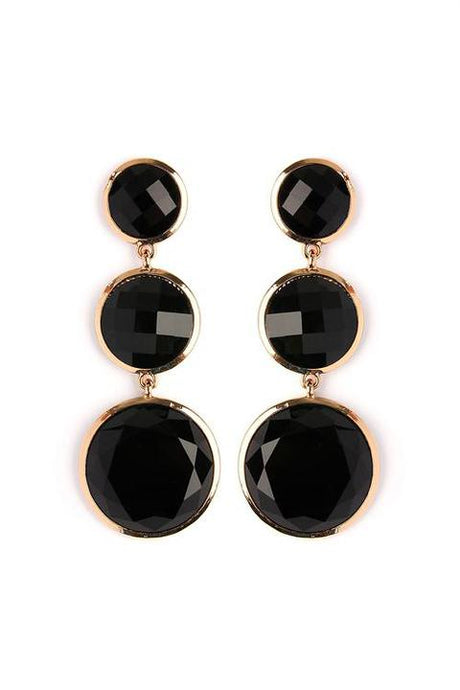 Black Gem Drop Earrings