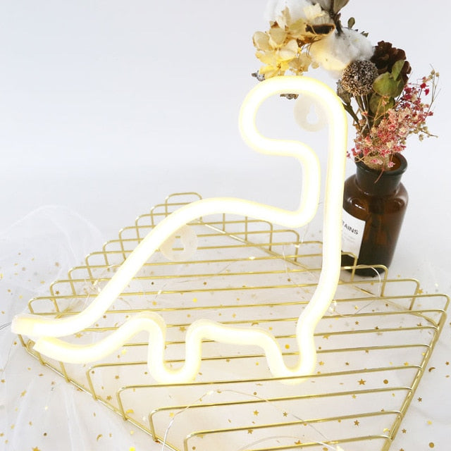 WHITE DINOSAUR Neon Decor Light