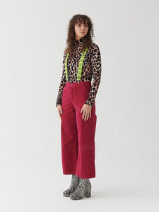 Lazy Oaf Dolcevita Leopard Velour Turtleneck