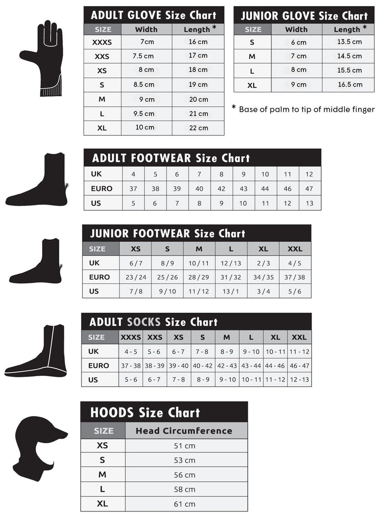 C Skins Wetsuit Accessories Size Guide
