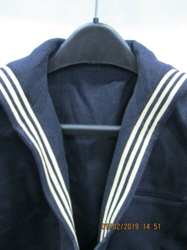 "Vintage USN Blue Melton Wool Jumper CM E5 41"" Chest BEACHMASTER UNIT 1"