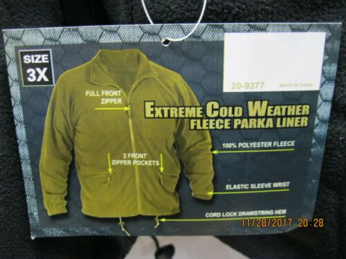 Voodoo Tactical E.C.W. Parka LINER 3XL Removable Fleece Liner 20-9377 NEW W/TAGS