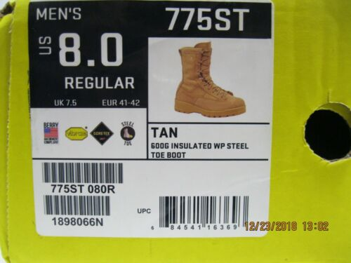 f0affcdc53c Belleville 775ST Tan Combat Boot sz 8R Steel Toe * 600G Insulation* Water  Proof