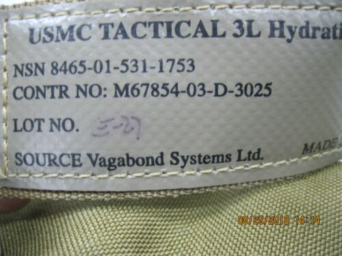 USMC Source Tactical 3L Hydration System * NWT * CIF #8465-01-531-1753