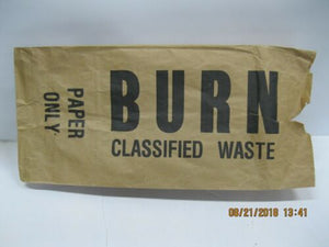 CLASSIFIED WASTE BURN Paper Bag * Paper Bag ONLY