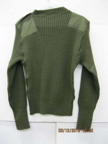 USGI OD Green Wool Sweater with Epaulettes Sz36