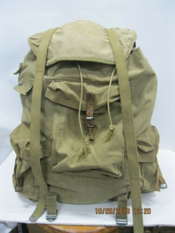 VINTAGE WWII 10th MtDiv Canvas Rucksack Steel Frame * Mountain Troops Alps