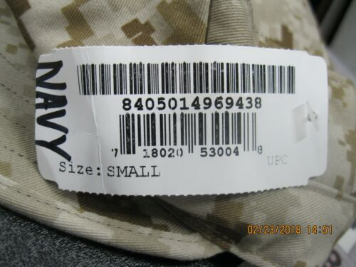 USN Cover ,Garrison ,MARPAT ,Desert,NAVY sz Small *Same as Type II & AOR1 w/ ACE