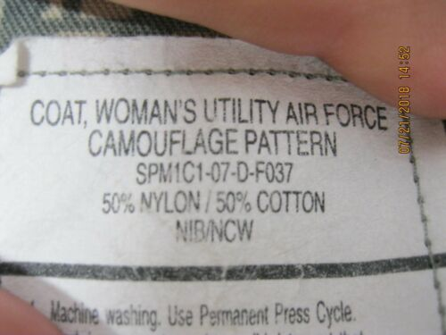 USAF Womans Utility Coat AF Camo Pattern ABU/ACU sz14L *Inside Doc Pockets* READ
