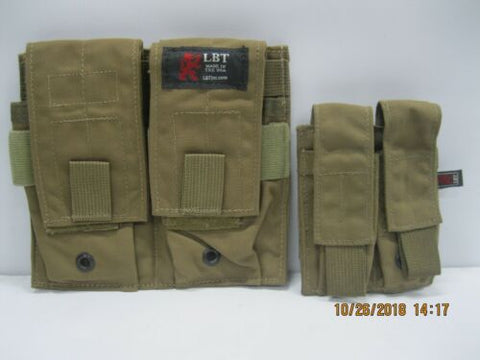 LBT Dbl 556Mag Pouch & Dbl 9mm Mag Pouch Coyote *Red Label