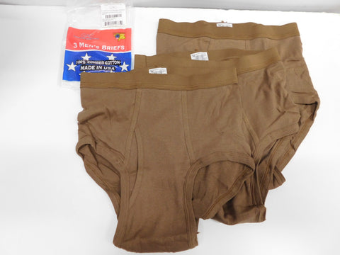 USGI Mens Cotton Briefs Brown sz 34 2qty-3pk * Six Total Pair * SEALED PKGS