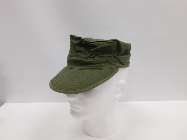 USMC Cotton Utility Cap OG-107 sz Medium WITH EGA Stencyl  1968 * NOS