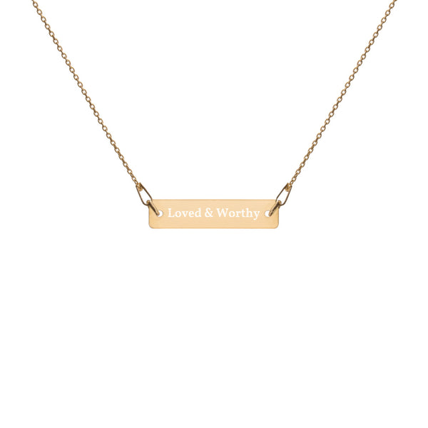 """LOVED & WORTHY"" ENGRAVED BAR CHAIN NECKLACE"