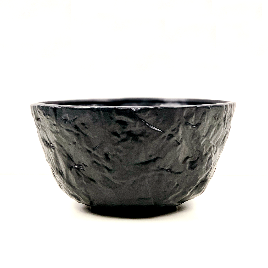 Black Creased Ceramic Bowl