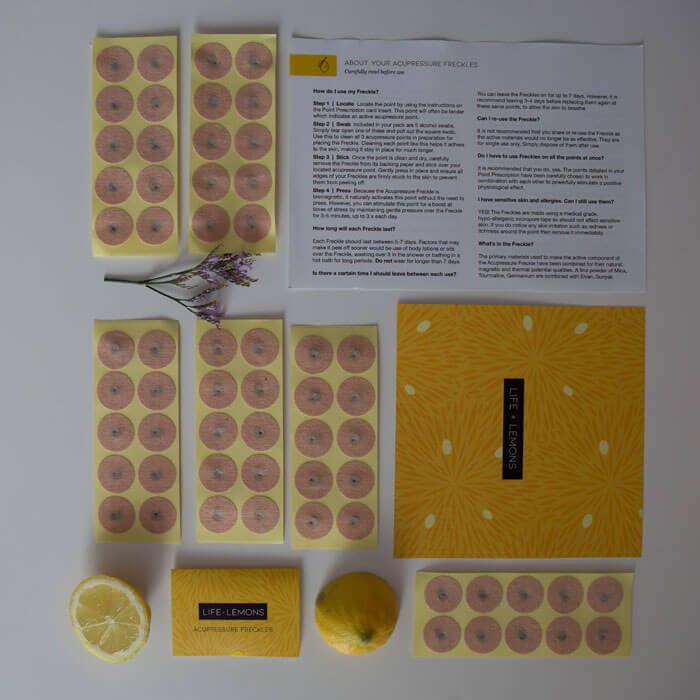 Entire contents of Acupressure Freckle pack for practitioners