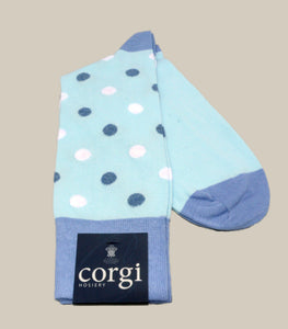 Corgi's Polka Dot Cotton Socks - Blues