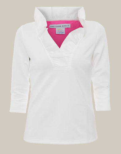 Gretchen Scott Ruff Neck Top - White