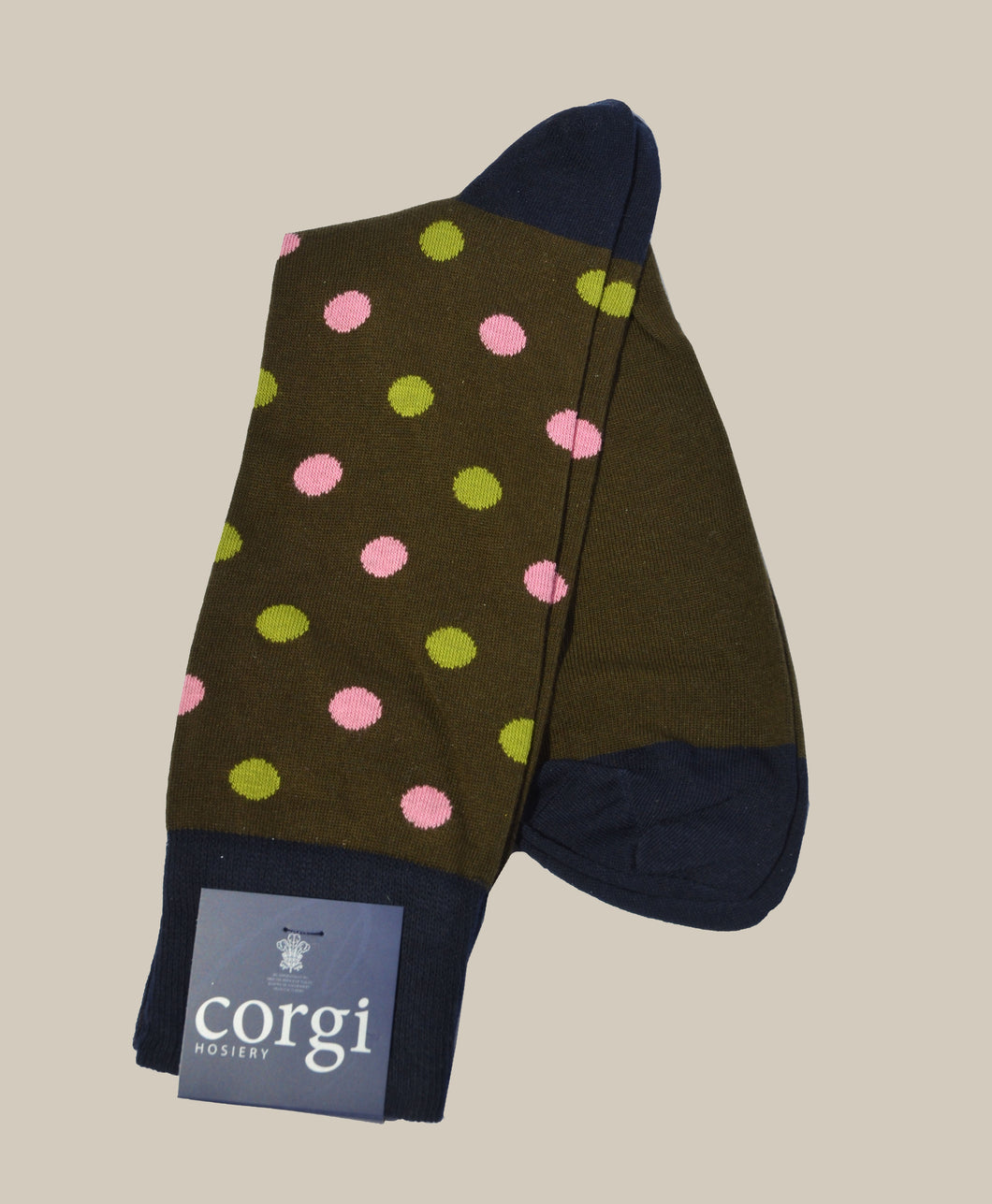 Polka Dot Cotton Blend Socks - Green & Pink