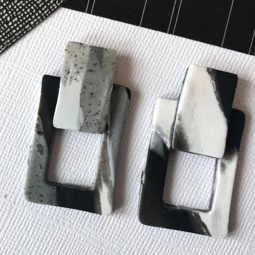 minimalist marble earrings