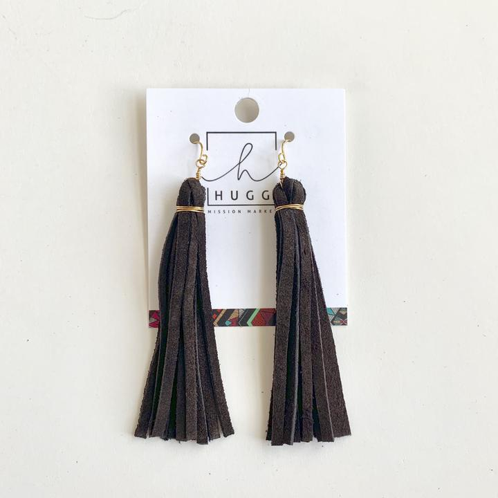 dark brown leather earrings