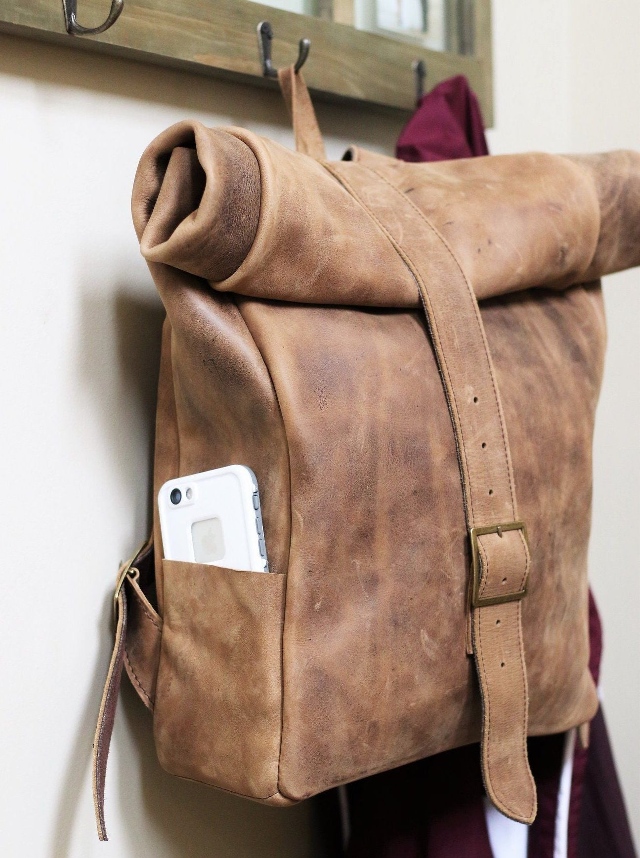 ethically made leather backpack