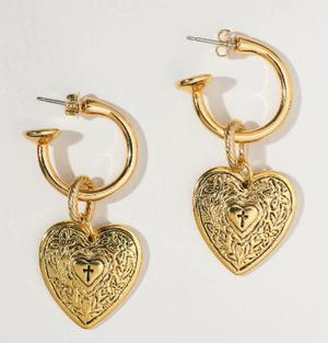 THE ANGELICA HEART HOOP EARRINGS