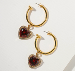 THE RUBY HEART HOOP EARRINGS