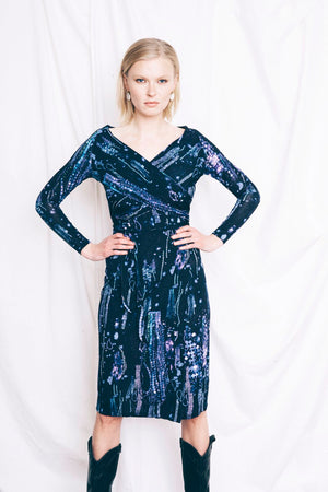 The Tie Me Up Dress in Blue Crystals