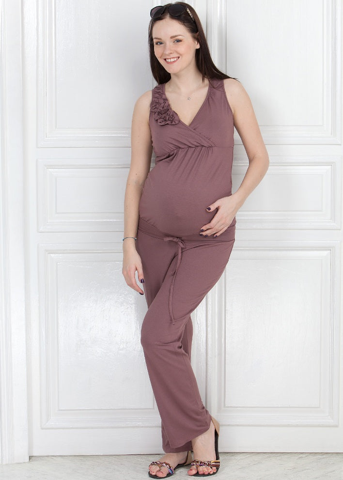 """Maldivy"" KV01 beige Maternity and nursing jumpsuit"