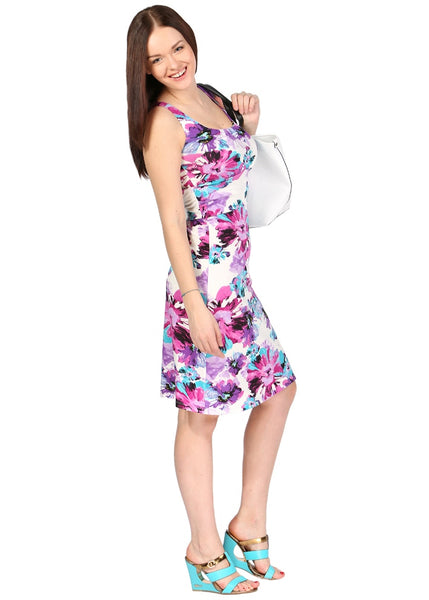 PV03 Maternity dress with purple flowers