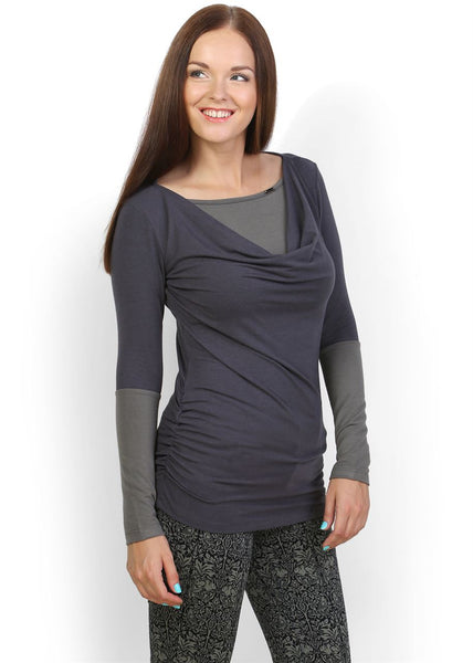 Marcella Maternity And Nursing Tunic in grey