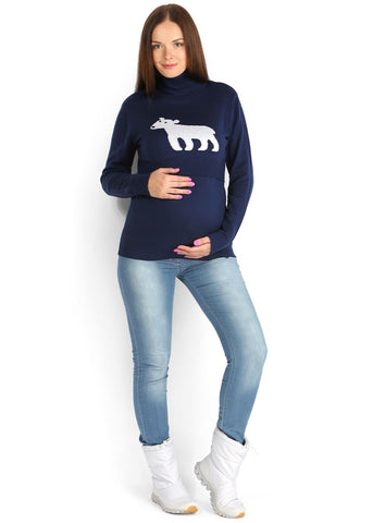 "Sweater ""Julia"" blue with a teddy bear"