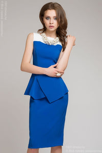 dress DM00274BL cornflower blue with white top and asymmetrical peplum