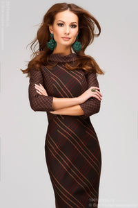 DM00302BD dress MIDI length large dark brown plaid V-neck on the back