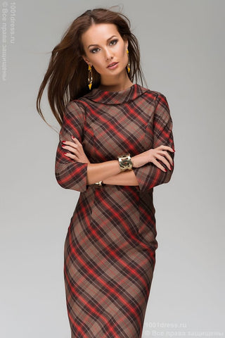 DM00302RB dress length MIDI beige-red plaid V-neck on the back