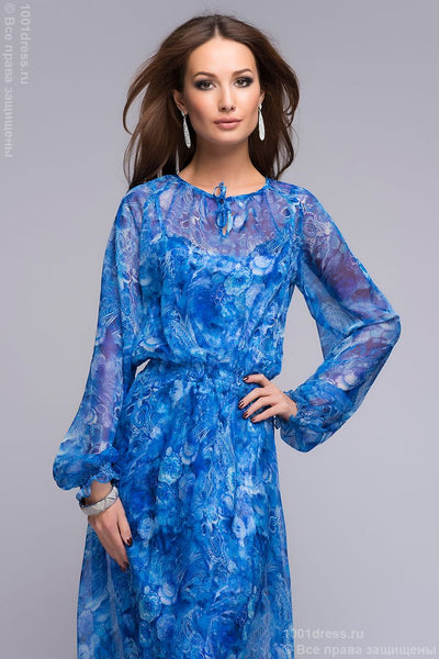 DM00344BL dress blue floral print Maxi length and long sleeve