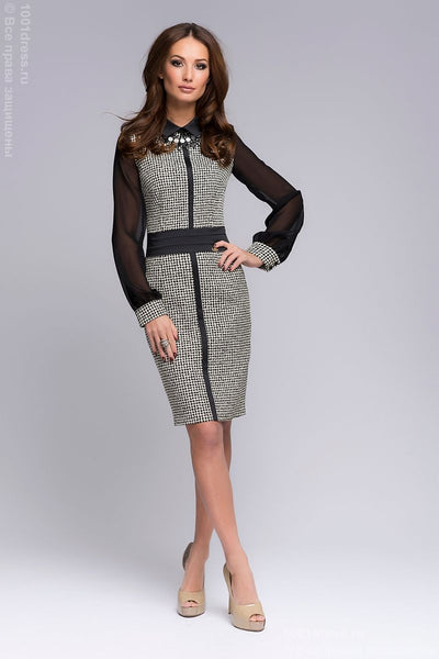 OW05093BK black dress length mini-print and long sleeves