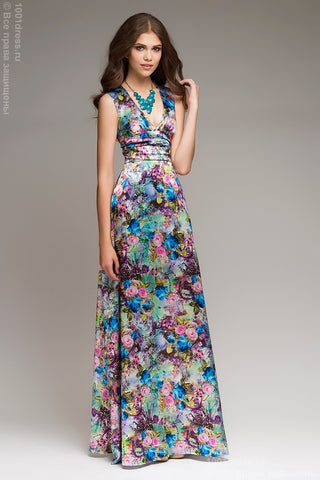 DM00080GB green dress with a print of blue roses