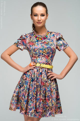 DM00255CR coral dress with color print and full skirt mini length