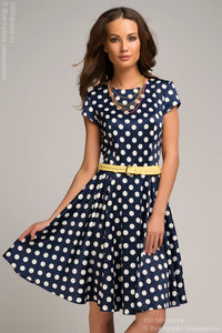 OF00058BL Dress in blue with a print of peas and a pleated skirt
