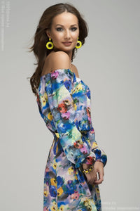 DM00126BF Maxi- length blue dress with floral print