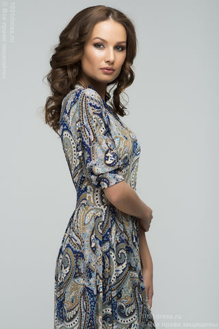 DM00102GY Maxi-length grey dress with blue floral print and batwing sleeve