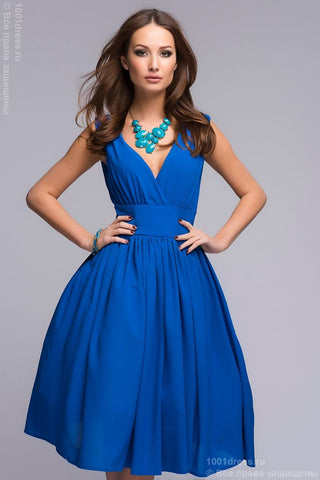 DM00353BL blue dress MIDI length sleeveless neckline