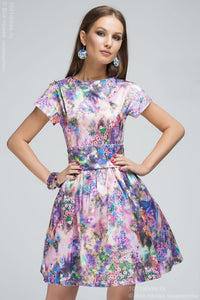 DM00248PK pink dress with a full skirt and pockets at side with small floral print