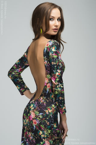 DM00049BF black dress with floral print and open back