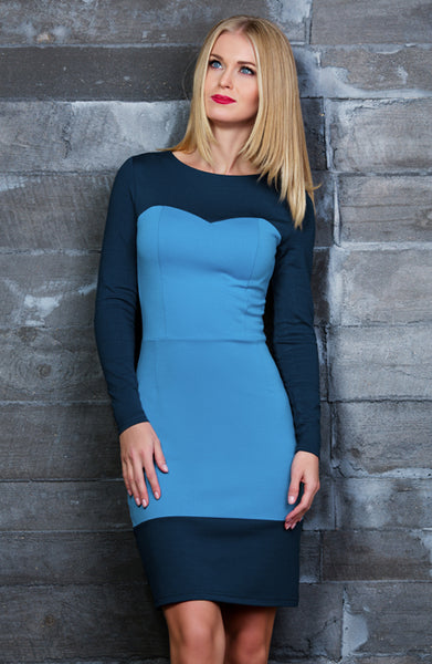 Dress bodycon DSP-165-43 cornflower blue/ dark blue