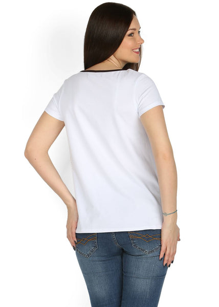 Sabina maternity T-shirt in white with roe
